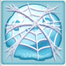 Snowball under cobweb
