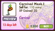 Carnival Mask I Market Info