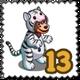 White Tiger Mascot Stamp-icon
