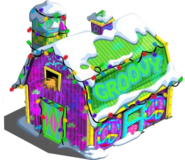 Groovy Barn with snow and lights