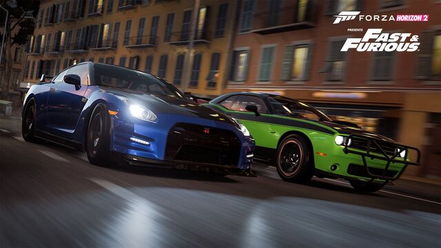 File:Brian's Nissan GT-R & Letty's Challenger - Forza Horizon 2.jpg