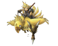 Final Fantasy VII - Cloud Strife riding on a Chocobo