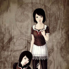 Artwork of Mayu (left) and Mio (right).