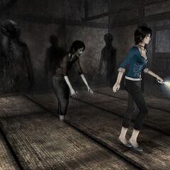 Yoshino and the shadows attacking Rei.