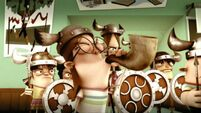 Viking Nancy blows her horn