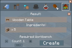 Wooden Table - Crafting Screen