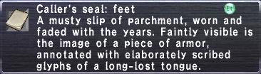 Caller's seal feet