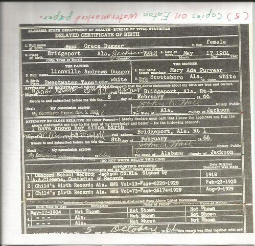 File:Certificate of Rosa Grace Dugger's Birth.jpg