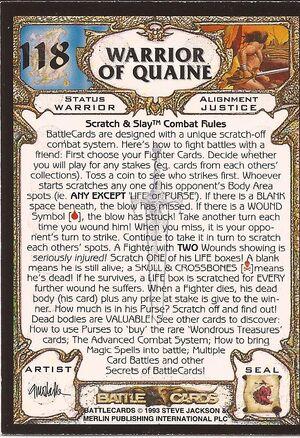 118 Warrior of Quaine US back