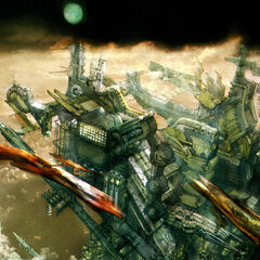 Early concept art of a city in the sky.