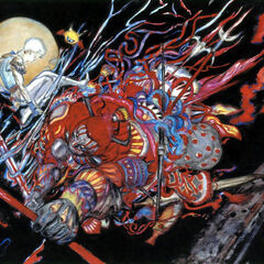 Gilgamesh versus Bartz artwork by Yoshitaka Amano from <i>Final Fantasy V</i>.