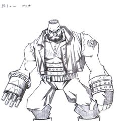 Early concept art of Barret by Tetsuya Nomura.