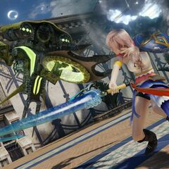 Lightning in the sphere hunter garb in <i>Lightning Returns: Final Fantasy XIII</i>.