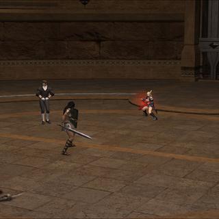 Combatants fighting in the coliseum.