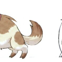 Concept art of the dog the moogle in town plays with.