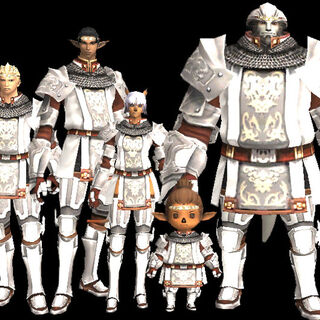 A group shot of all the races in Artifact Armor.