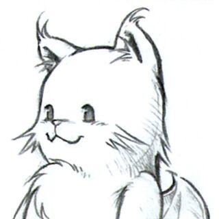 Concept art of MiniMog for <i>Final Fantasy VIII</i> by Tetsuya Nomura.