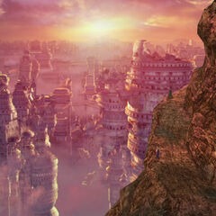 View on Zanarkand ruins from Mt. Gagazet in <i>Final Fantasy X</i>.