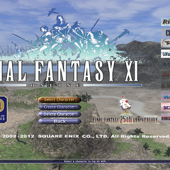 The login screen of <i>Final Fantasy XI</i> featuring the 25th Anniversary logo.