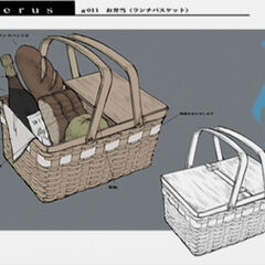 Concept art of the basket for a picnic with Vincent.