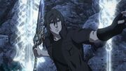 Noctis throw one of his sword while using Armiger Arsenal