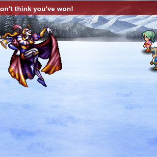 Returners battling Kefka on the Narshe Cliffs.