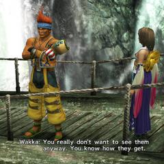Wakka talking about Yuna's visitors.