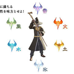 A concept art of Conjurer with the six elements for the original <i>Final Fantasy XIV</i>.