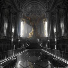 Concept art of the throne room for <i>Kingsglaive</i>.