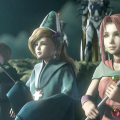 Palom, Porom and Leonora in the opening FMV.
