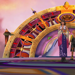 Yuna and Tidus on the deck in <i>Final Fantasy X</i>.