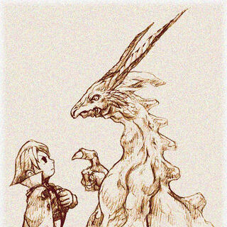 Early concept art of a dragon talking with a boy.