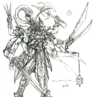 Concept artwork of Gilgamesh's transformed state by <a href=