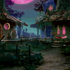 Black Mage Village at night.