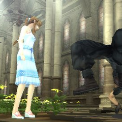 Aerith and Zack in <i>Crisis Core</i>.
