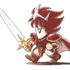 Kazuko Shibuya artwork of Paladin Cecil for <i>Final Fantasy IV</i> (SNES).