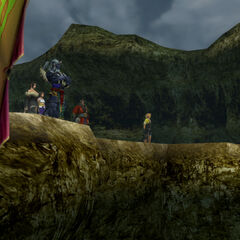 The party at Mushroom Rock Road in <i>Final Fantasy X</i>.