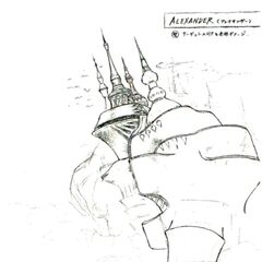 Concept art of Alexander from <i>Final Fantasy VI</i> by <a href=