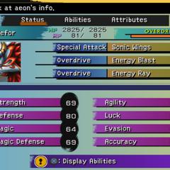 Aeon Status menu (PS2).