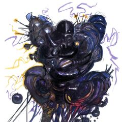 Artwork of the Giant of Babil and its CPU by Yoshitaka Amano.