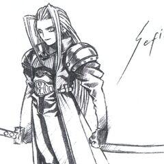 Early concept art of Sephiroth by Tetsuya Nomura.
