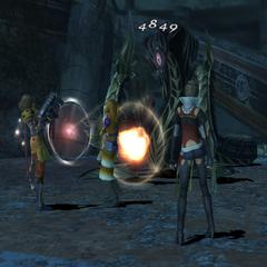 Yuna as an Alchemist attacking in <i><a href=