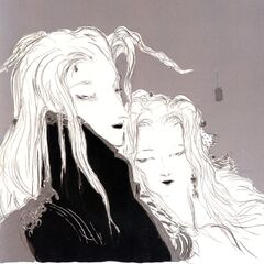 Yoshitaka Amano artwork of Sephiroth and Aerith.