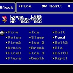 The Black Magic menu in the SNES version.