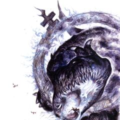Promotional artwork for Vaan, Ashe, Balthier, and a Fell Wyrm by Yoshitaka Amano.