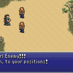 Cyan attacking Imperial troops in rage (GBA).