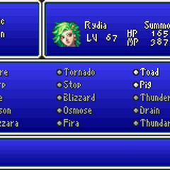 Magic menu in the GBA version.