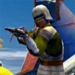 A warrior monk aiming at Tidus.