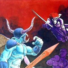 Artwork of Garland fighting the Warriors of Light from <i>Nintendo Power</i>.