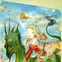 Yoshitaka Amano artwork of Terra riding a green creature.